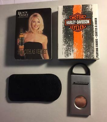 Harley Davidson Black Velvet Whisky Playing Cards Michelob Beer Cigar Cutter
