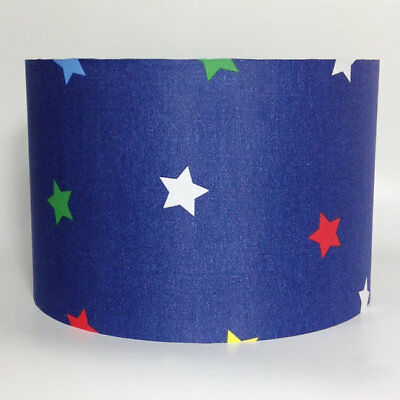 Navy Blue, Multi Coloured Stars Large Fabric Light Shade - Green Yellow Red