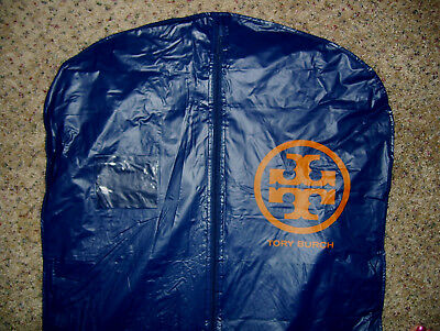 Tory Burch Logo Hanging Garment Storage Bag 23x53 Thick Vinyl Navy Blue Zippered