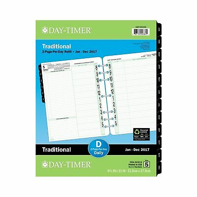 "Day-Timer Daily Planner Refill 2017 Two Page Per Day Traditional 8-1/2 x 11"" ..."