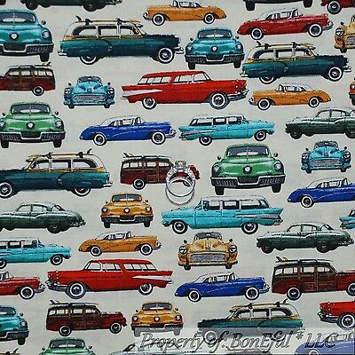 BonEful Fabric FQ Cotton Quilt Cream Red Blue Old CAR VTG Retro Classic American