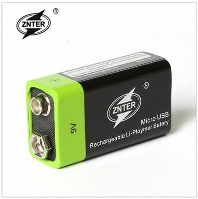 Rechargeable 9V 400mAh Li-Po Battery 5V USB Charging ZNTER Lithium