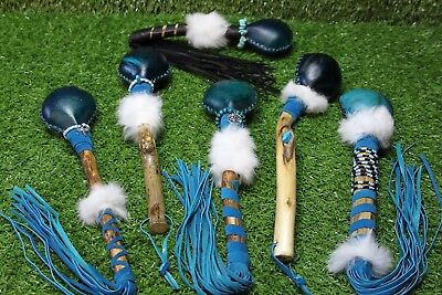 Red Deer Rawhide Rattle. Native American Inspired,Shaman, Pagan. Dyed Turquoise