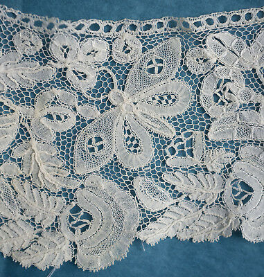 Antique Honiton lace single cuff - 2 butterflies