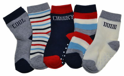 5 pairs of Logo & Stripe Baby Boys socks with Grippers