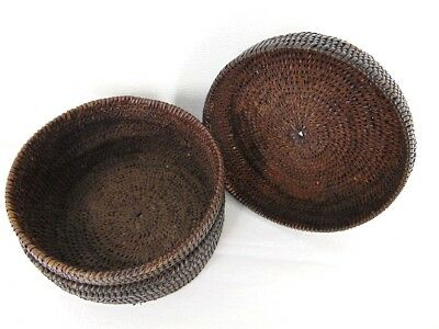 Antique AFRICAN WOVEN BASKET & LID Unknown Tribe FROM 1950s CONGO MISSIONARIES B
