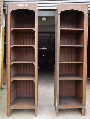 Antique Vintage Oak Built-In Bookcase Pair Early 1900's Knox Hall Columbia U.