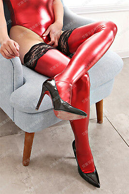 PVC Wet Leather Look Red Lace Stocking Dugeon Night Party Fetish Tights Sock