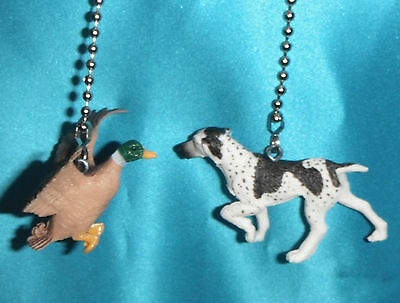 Two ~ Mallard Duck Bird & Pointer Dog Hunter Hunting ~ Ceiling Fan Pull Chains