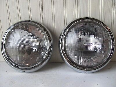Vintage Pair of Car or Truck Headlights and Assemblies Chrome Ring Sylvania 2D1
