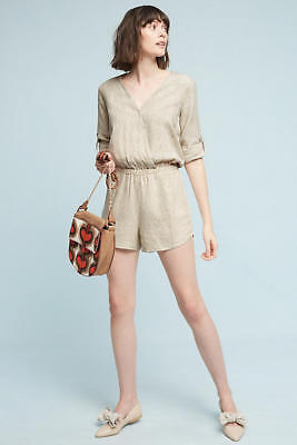 e143ce36924 NEW ANTHROPOLOGIE  128 Pipe Romper By Cloth   Stone Sz L Large ...