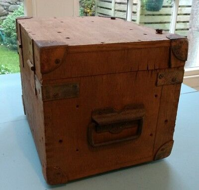 Vintage Sturdy Pine Box with Screw Down Hinged Lid and Metal Corner Protectors