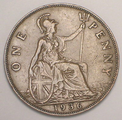 1936 UK Great Britain British One 1 Penny King George V Coin VF+