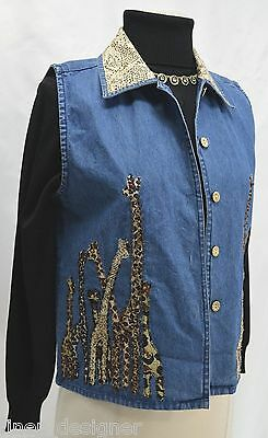 Tantrums blue jean vest beaded giraffe jungle animal denim button up top S NWT