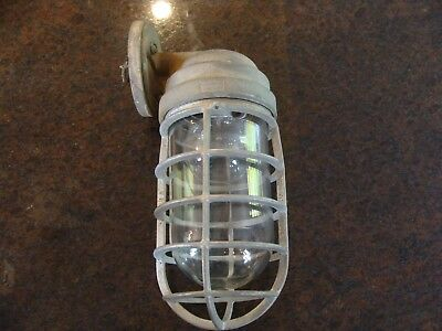 Crouse-Hinds Vintage Industrial Explosion Proof Caged Ceiling Sconce Porch Light