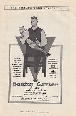 1912 George Frost Co Boston MA Ad: Boston Garter Made in 2 Styles Pad and Cord