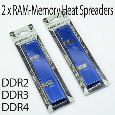 2 x RAM Memory Heat Spreader Heatsink for DDR DDR2 DDR3 DDR4 - Aluminium - NEW