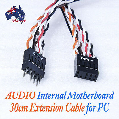 PC Internal Motherboard AC97/HD Audio 9pin male to 9pin female Extension Cable