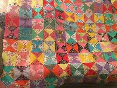 """Fabulous Colorful Vintage Feedsack Quilt Topper, Estate Sale, Must See 78X64"""""""