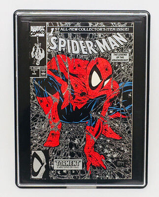 SPIDER-MAN Issue #1 Marvel Comics 1990 McFarlane Black & Silver Variant in Case
