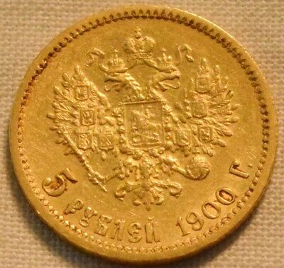 1900 R 5 Roubles, Russia Gold Coin, Scarce Type, Higher Grade Russian 5R