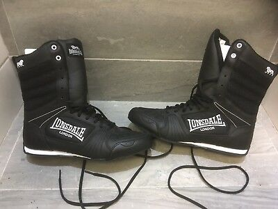 Lonsdale Men's Boxing Contender High Boxing Boots   - Black-White NEW