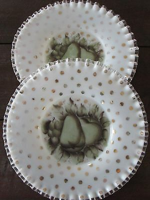 Pair Antique Cased Milk Glass Hand Painted Plates-Ruffled-Crimped Edges-Maker-?