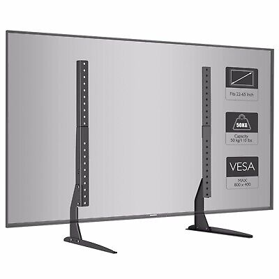 "Universal Tabletop TV Stand Pedestal Mount Monitor Riser fits 22""-65"" Screens"