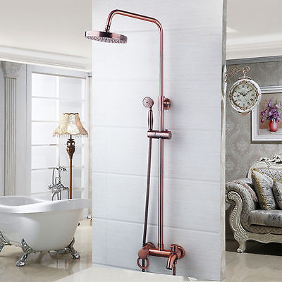 "AS 8"" Antique Copper Bathroom Shower Head Set Tub Sink Faucet Mixer Taps i2"