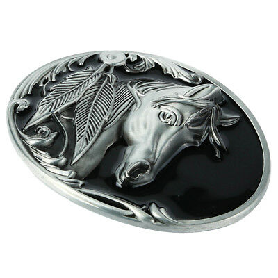 Alloy Engraved Horse Head Sharp Leaves Silver Belt Buckle Western Cowboy