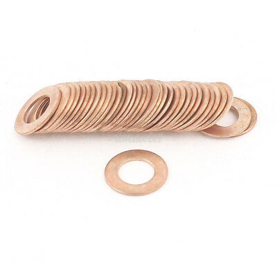 50 Pcs 10mm x 18mm x 1mm Copper Flat Washer Ring Gasket Spacer Fasteners Fitting