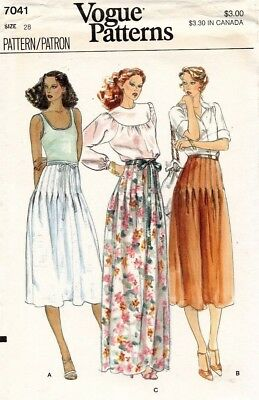 1970's VTG VOGUE Misses' Skirt Pattern 7041 Size 28 UNCUT