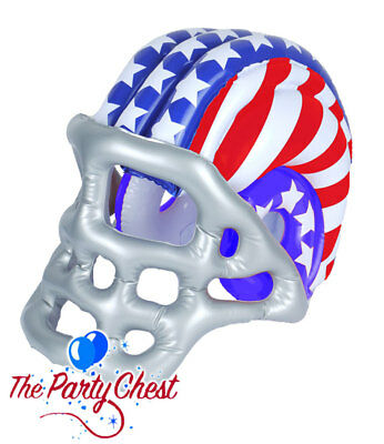 Blow Up Inflatable American Football Helmet USA Flag Hockey Wearable Hat Striped