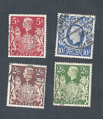 Great Britain Scotts #249, 249A, 250, 251A used, SCV 14.50
