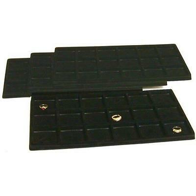 4 Black Flocked 18 Compartment Display Tray Inserts