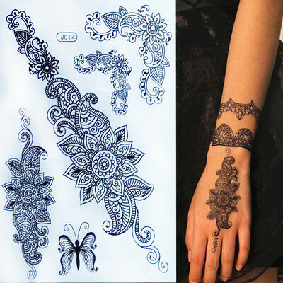 Flower Lotus Lace Black Henna Lace Flowers Temporary Tattoos  Stickers Festival