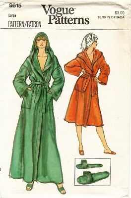 1970's VTG VOGUE Misses' Robe and Slippers Pattern 9615 Size L UNCUT