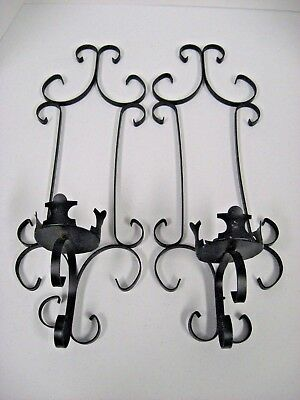 "Pair Vintage Gothic Style Wrought Iron Wall Sconces Candleholders 18.5""X6.5"""