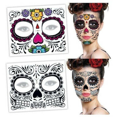 Day Of The Dead Sugar Skull Full Face Temporary Tattoo Halloween Face Mask Flora