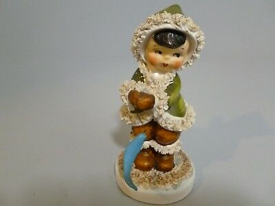 Vintage 1950's Fishing Eskimo Spaghetti Angel With Fish On The Line