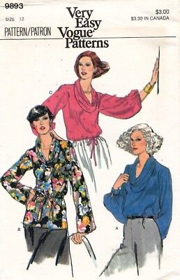 1970's VTG VOGUE Misses' Blouse Pattern 9893 Size 12 UNCUT