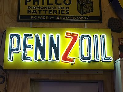 Original VinTage PENNZOIL Lubrication OIL Service Tin Advertising NEON SIGN Old
