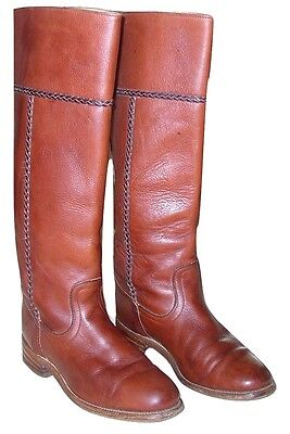 Reconditioned_FRYE Campus Russet Braided Tall Vintage Riding Boot_Size 7.5M_FAB!
