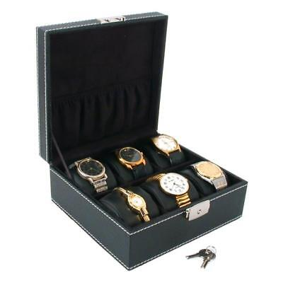 6 Watch Black Faux Leather Jewelry Display Case Box