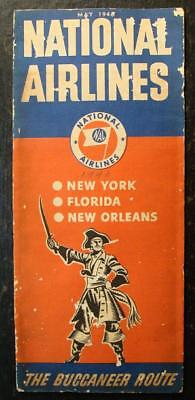 May 1946 National Airlines Schedule-The Buccaneer Route-Time Table