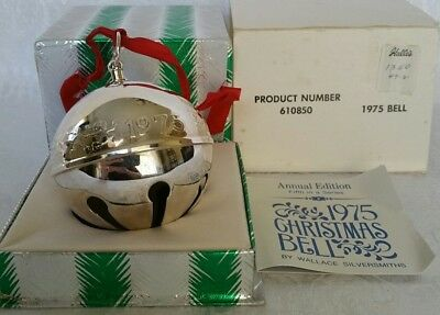Wallace Silver Plated Christmas Sleigh Bell 1975 Sprightly Elves w/Box