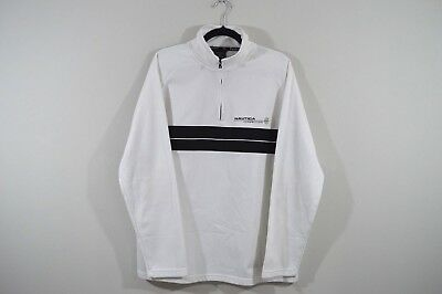 Vtg 90s NAUTICA COMPETITION Mens XL Spell Out Half Zip Pullover Sweater White