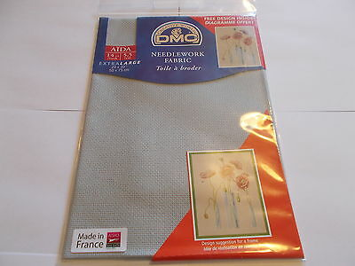 DMC NEEDLEWORK CROSS STITCH FABRIC AIDA DOVE GREY 415 14 COUNT 50cms x 75cms