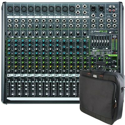 Mackie ProFX16v2 16-Channel 4-Bus PA Mixer and Gator Padded Equipment Carry Bag