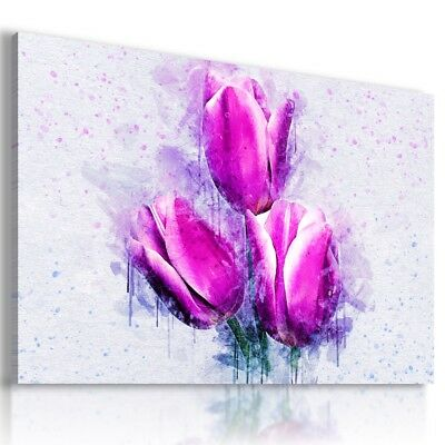 PURPLE FLOWERS ABSTRACT MODERN CANVAS WALL ART PICTURE AB761 X MATAGA
